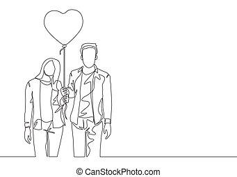 amour, vecteur, heureux, continu, ensemble, jeune, unique, couple, conception, femme, mariage, balloon., promenade, prendre, forme coeur, homme, concept, ligne, romantique, dessin, tenue, illustration, dessiner, une
