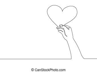 amour, vecteur, heureux, continu, mignon, jeune, unique, conception, mariage, main, forme coeur, femme, carton, concept, ligne, romantique, dessin, tenue, paper., illustration, dessiner, une