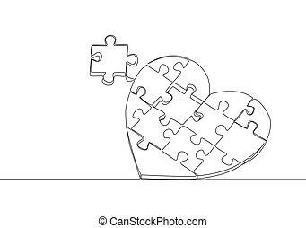 amour, vecteur, il, formulaire, mettre, continu, puzzle, mignon, symbole., ensemble, unique, conception, mariage, coeur, concept, ensemble, morceaux, ligne, romantique, dessin, illustration, dessiner, forme, une
