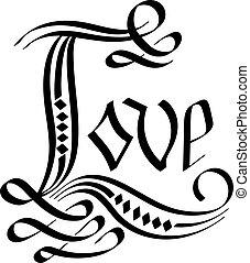 amour, vecteur, lettering., main