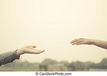 amour, vendange, couple, tone., ensemble, main, filtre, toucher