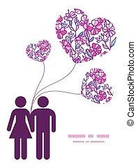amour, vibrant, couple, salutation, champ, silhouettes, vecteur, gabarit, invitation, modèle, fleurs, cadre, carte