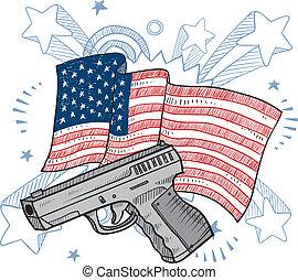 amours, fusils, amérique, croquis