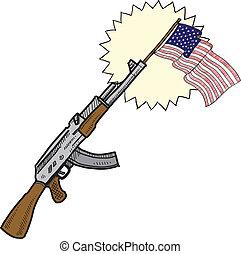 amours, fusils assaut, croquis, amérique