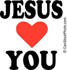 amours, icône, jésus, vous