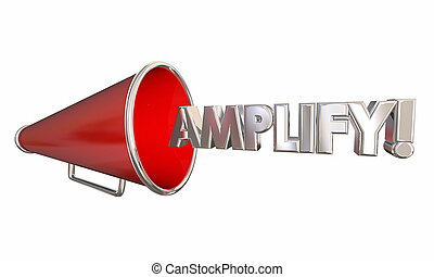 amplifier, mot, obtenir, illustration, plus bruyant, bullhorn, porte voix, 3d