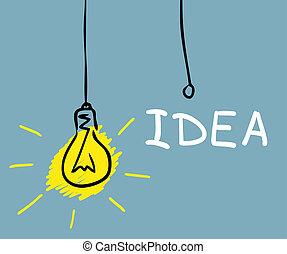 ampoule, concept, dessin