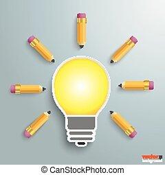 ampoule, crayons