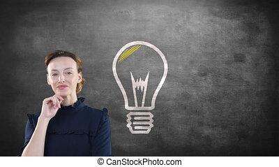 ampoule, doigt, animation, caucasien, sur, pointage, elle, lumière, femme, tableau noir, haut, apparaître