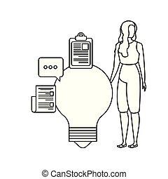 ampoule, femme, caractère, jeune