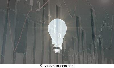 ampoule, graphiques, tourner, lumière