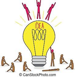 ampoule, groupe, lamp., sitting., autour de, grand, lumière, idée, voler, brainstorming., gens