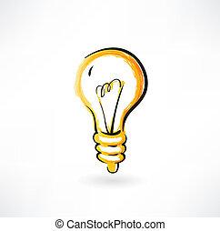 ampoule, grunge, icône