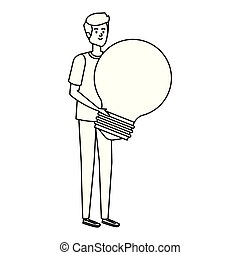 ampoule, homme, jeune, levage, lumière