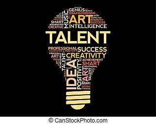 ampoule, mot, talent, nuage