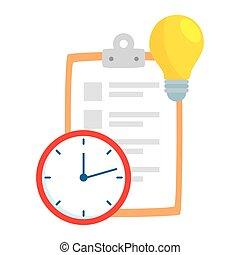 ampoule, presse-papiers, lumière, horloge