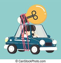 ampoules, conduite, voiture, idée, avoir, homme affaires