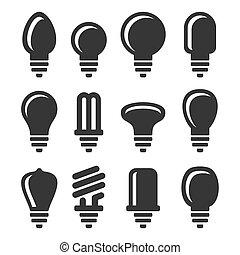 ampoules, ensemble, icônes, lumière, arrière-plan., vecteur, blanc