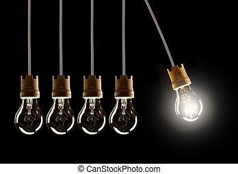 ampoules, lumière, une, unique, shinning, rang