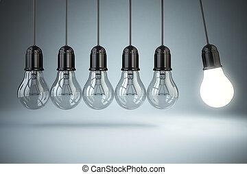 ampoules, motion., lumière, concept., perpétuel, créativité, idée, o