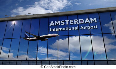 amsterdam, reflété, avion, terminal, atterrissage