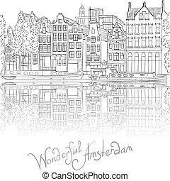 amsterdam, vecteur, vue, canal, ville