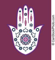 amulette, vecteur, juif, hamsa, main