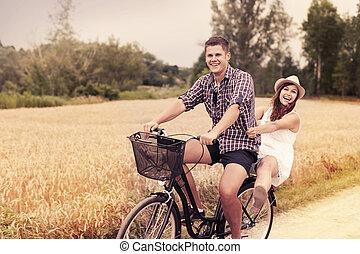 amusement, équitation, couple, vélo, avoir