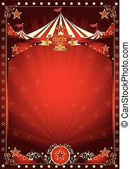 amusement, affiche, cirque, rouges