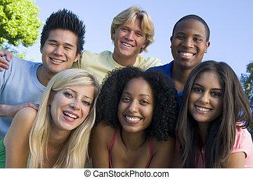 amusement, amis, groupe, jeune, avoir