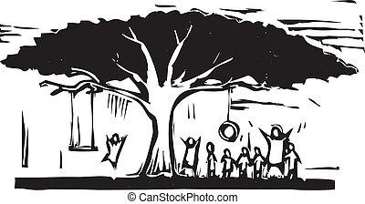 amusement, arbre