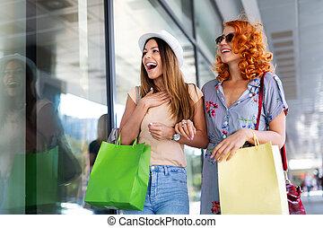 amusement, beau, sacs, filles, tourisme, concept., ctiy, achats, achats