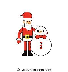 amusement, bonhomme de neige, claus, santa