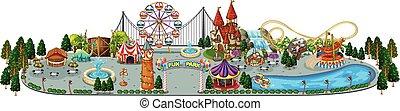 amusement, carte, parc, amusement