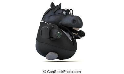 amusement, cheval, animation, -, 3d