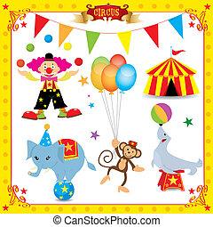 amusement, cirque, ensemble