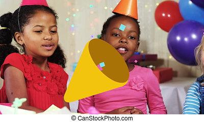 amusement, fête, cône, animation, enfants, banderoles, avoir