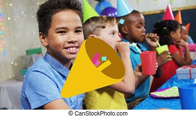 amusement, fête, cône, animation, enfants, banderoles, sur, avoir