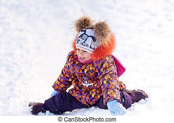 amusement, girl, parc, hiver, avoir
