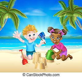 amusement, gosses, plage, avoir, dessin animé