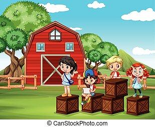 amusement, grange, avoir, enfants