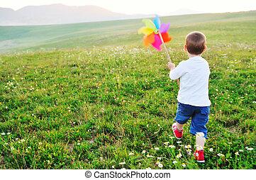 amusement, heureux, extérieur, avoir, enfant