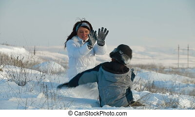 amusement, hiver, famille