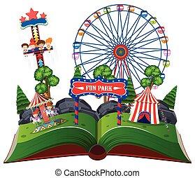 amusement, livre, parc, haut, pop