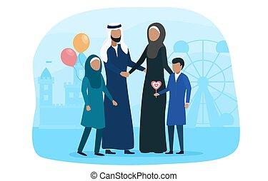 amusement, musulman, parc, gosse, marche, famille