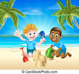 amusement, sable, gosses, avoir, dessin animé