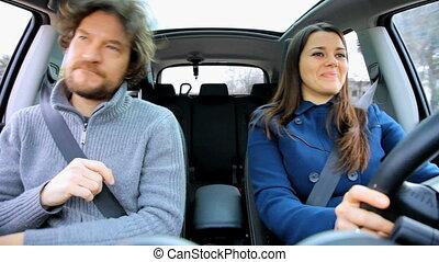 amusement, voiture, couple, avoir, danse