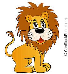 amuser, lion, jeune