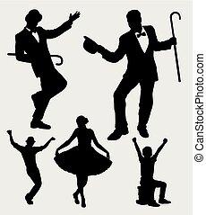amuseur, action, silhouette