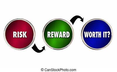 analyse, il, risque, récompense, évaluation, illustration, valeur, 3d